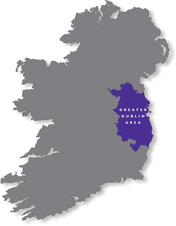Map of Ireland with Greater Dublin Area highlighted