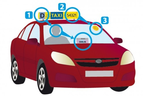 Image of red taxi and markings