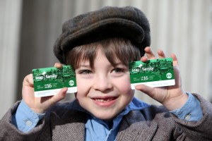 Repro Free: Tuesday March 1st 2016. 1916 meets 2016: Pictured launching the €10 Leap Family Card was Darragh McCormick age 7 from Galway. A new, promotional Leap Family Card was today launched by the National Transport Authority. Costing only €10, the Leap Family Card gives a family of two adults and up to four children (aged 18 or under) 24-hours unlimited travel in and around the Greater Dublin Area on Dublin Bus, Luas, Bus Éireann, DART and commuter rail. Picture Jason Clarke.