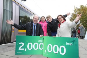 NTA CELEBRATES SALE OF TWO MILLIONTH LEAP CARDS…Sunday 13 November, 2016 -Dundrum Luas Stop.. Shane Ross TD, Minister for Transport, Tourism and Sport and Anne Graham CEO of the National Transport Authority today joined Jude Davis, 9 from Finglas and Meaghan Dunne (7) from Ashtown, to mark the sale of the 2millionth Leap Card. The 2 Millionth card was sold in recent days, less than five years since the first one was rolled out in 2011.Pic Maxwells Dublin No Fee Pic more info contact Q4 PR Nora Eastwood 087 1754149