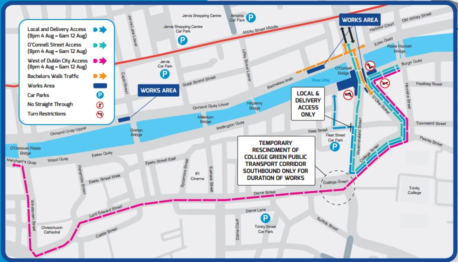 Major bus diversions in Dublin City due to Aston Quay