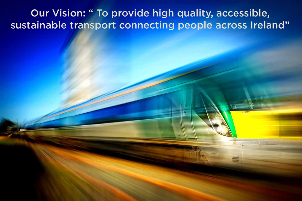 """Image of train moving with """"Our Vision: To provide high quality, accessible, sustainable transport connecting people across Ireland""""."""