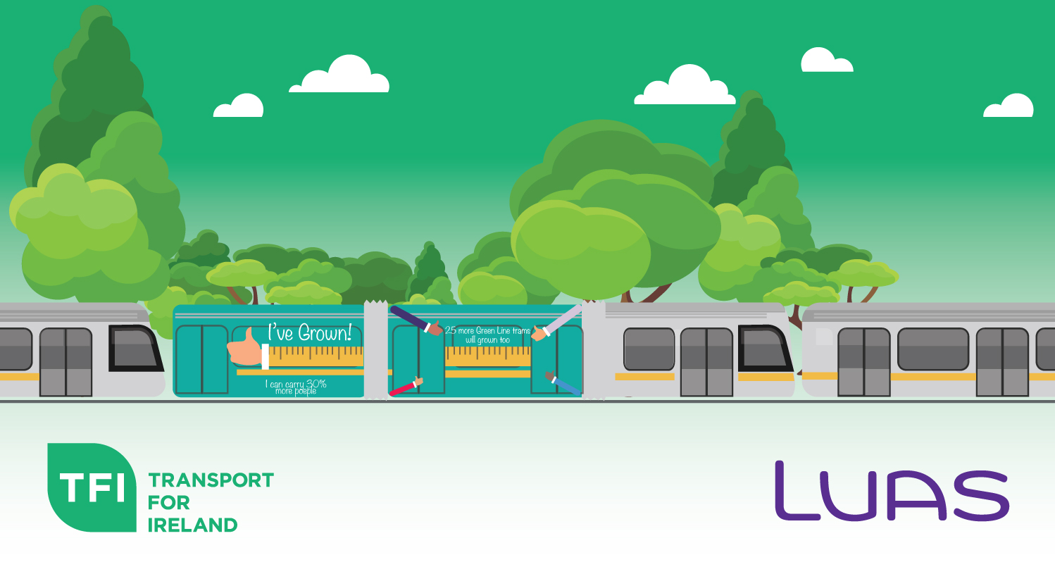 Image of new extended Luas tram, with logos and trees in the background.