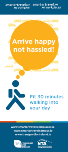 Arrive happy not hassled  walking promotional poster