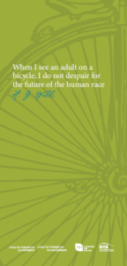 Cycling promotional poster with HG Wells quote