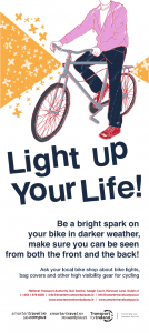 Cycling promotional poster reminding people to light up in the dark
