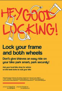 Poster reminding to lock the wheels and frame when locking your bicycle