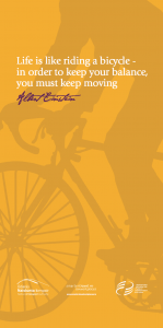 Cycling promotional poster with quote