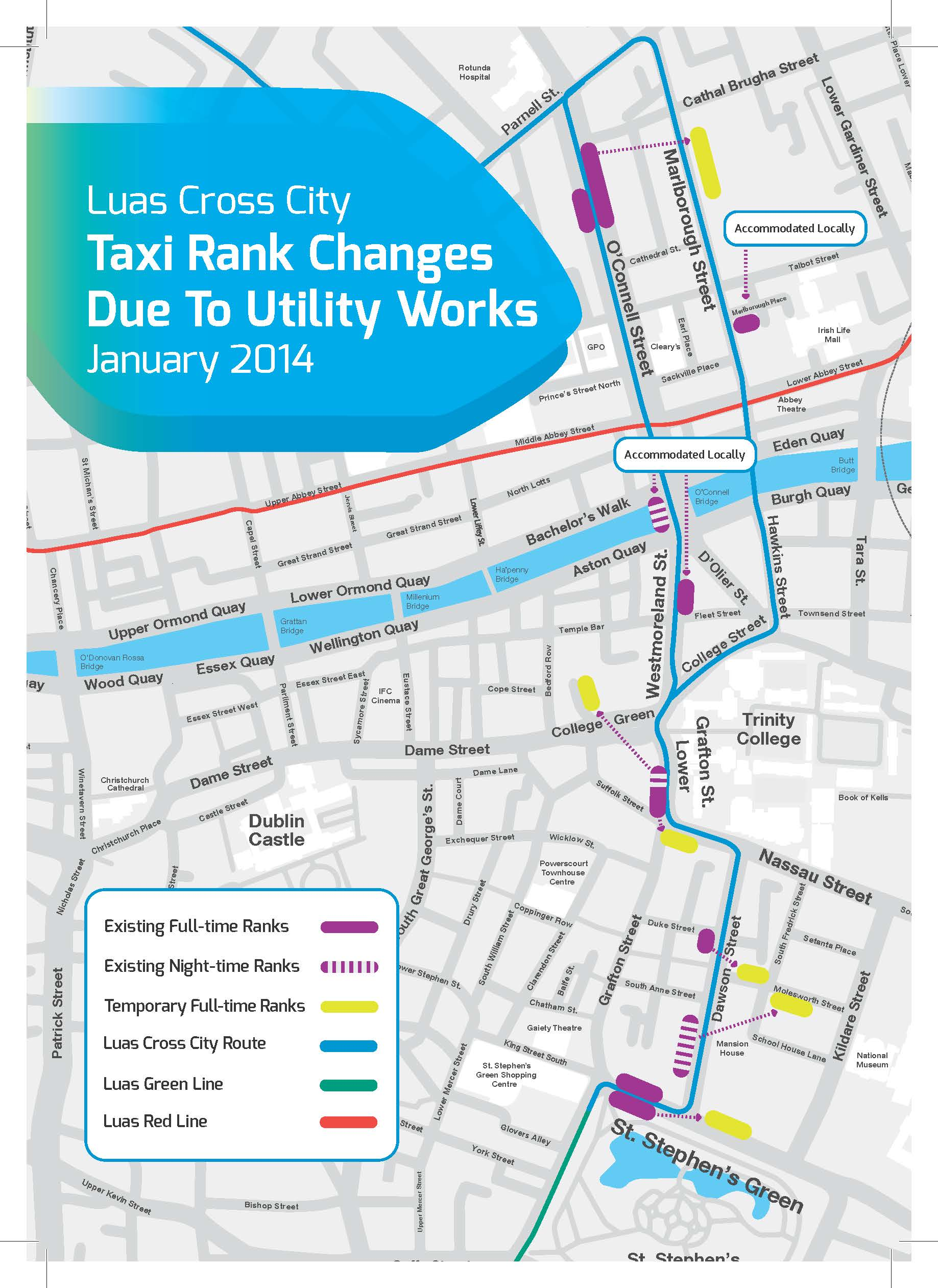 luas cross city taxi rank changes map. luas cross city works  dublin  national transport